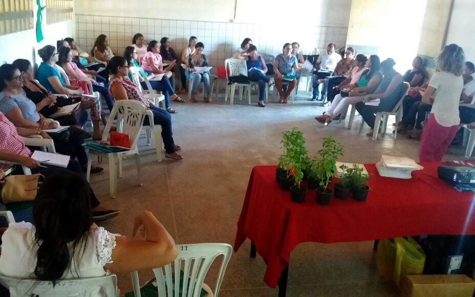 Educadores participam de formação sobre alimentação saudável e montagem de hortas em pequenos espaços.